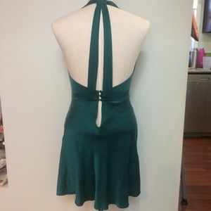 Victoria's Secret halter backless green silk slip